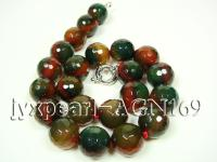 17.5mm colorful round faceted agate necklace AGN170