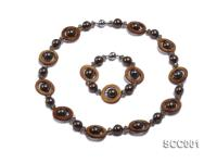 Gray Shell Pearl, Brown Disc-shaped Shell and Smoky Quartz Necklace and Bracelet Set SSC001