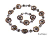 Gray Shell Pearl, Brown Disc-shaped Shell and Rock Crystal Necklace and Bracelet Set SSC002