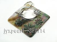 66x67mm Shell Pendant with Argent Gilded Metal Flower SPD114