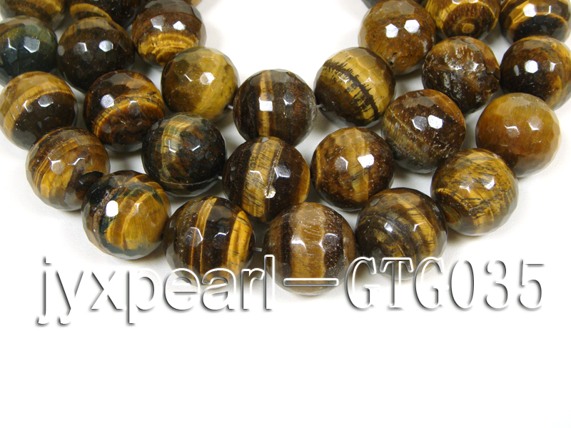 wholesale round yellow 20mm faceted Tiger Eye Strings big Image 1
