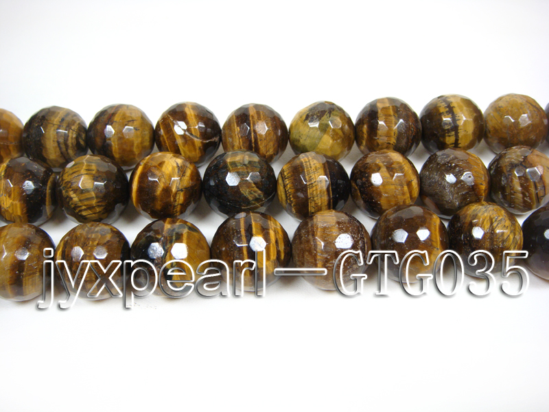 wholesale round yellow 20mm faceted Tiger Eye Strings big Image 2