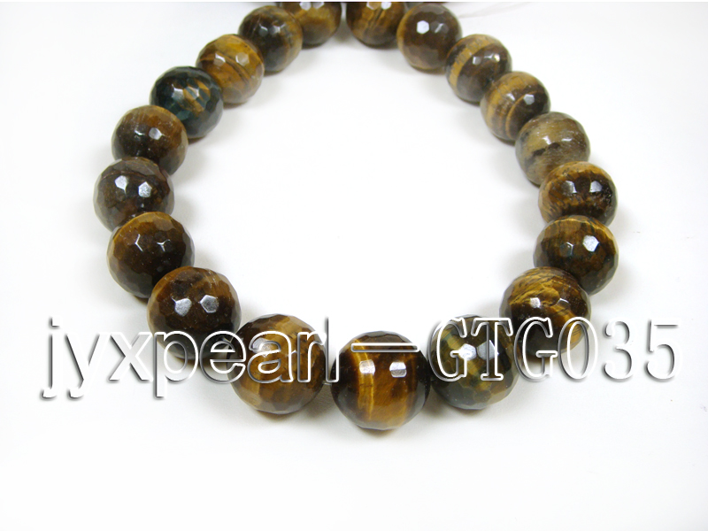 wholesale round yellow 20mm faceted Tiger Eye Strings big Image 3