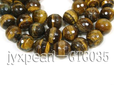 wholesale round yellow 20mm faceted Tiger Eye Strings GTG035 Image 1