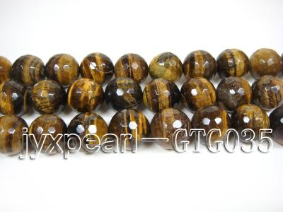 wholesale round yellow 20mm faceted Tiger Eye Strings GTG035 Image 2