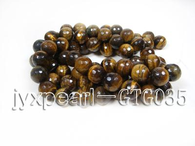 wholesale round yellow 20mm faceted Tiger Eye Strings GTG035 Image 4