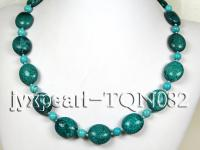 20x23mm dark green oval Turquoise Necklace  TQN082