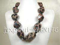 22x30x35mm irregular faceted natural agate and 10mm black round agate necklace  AGN175