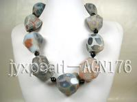 35x22x40mm faceted natural and 10mm black round agate necklace  AGN176