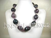 22x32mm colorful olive-shaped and  and 8mm round fluorite necklace FLR022