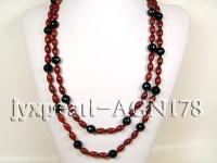 12mm black round with 2x12mm red oval agate necklace  AGN178