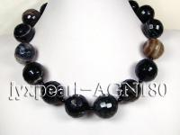 25mm black with white overtone round faceted necklace AGN180