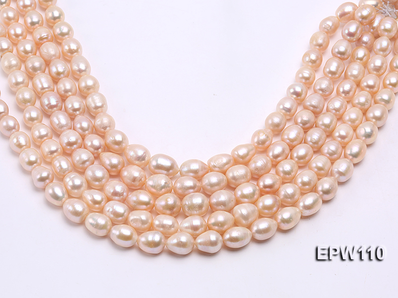 Wholesale 11x14mm Pink Rice-shaped Freshwater Pearl String big Image 2