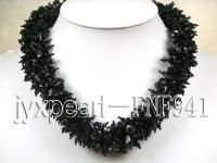 Fashionable Chunky Black Agate Chip Necklace FNF941