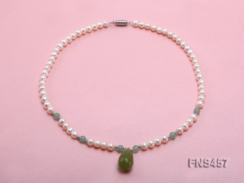 natural 6.5-7.5mm white round freshwater pearl necklace with drop aventurine  big Image 1