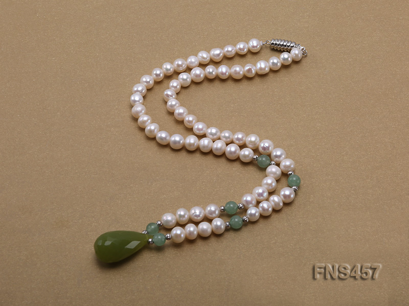 natural 6.5-7.5mm white round freshwater pearl necklace with drop aventurine  big Image 2
