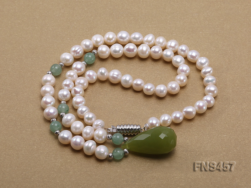 natural 6.5-7.5mm white round freshwater pearl necklace with drop aventurine  big Image 3