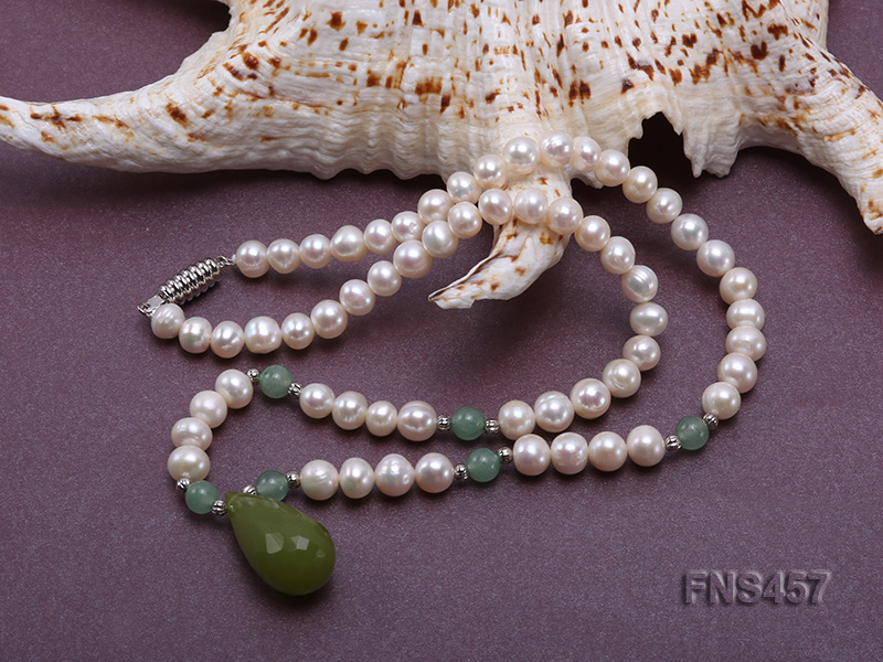 natural 6.5-7.5mm white round freshwater pearl necklace with drop aventurine  big Image 4