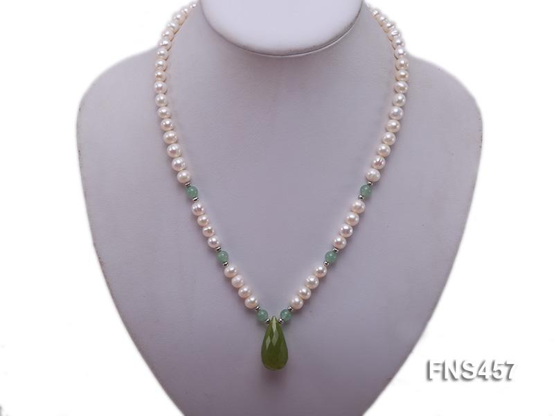 natural 6.5-7.5mm white round freshwater pearl necklace with drop aventurine  big Image 5