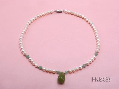natural 6.5-7.5mm white round freshwater pearl necklace with drop aventurine  FNS457 Image 1