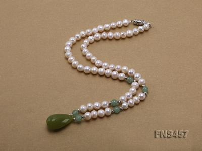 natural 6.5-7.5mm white round freshwater pearl necklace with drop aventurine  FNS457 Image 2