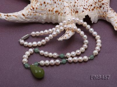 natural 6.5-7.5mm white round freshwater pearl necklace with drop aventurine  FNS457 Image 4