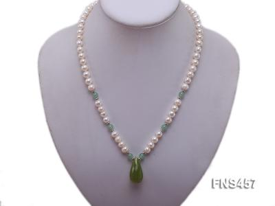 natural 6.5-7.5mm white round freshwater pearl necklace with drop aventurine  FNS457 Image 5
