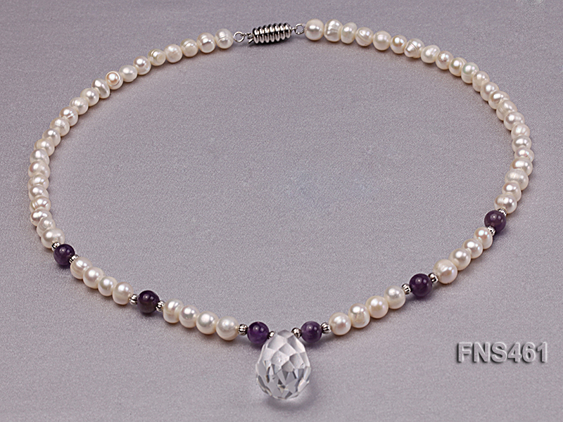 natural 6-7mm white round freshwater pearl necklace with natural amethyst and crystal big Image 7