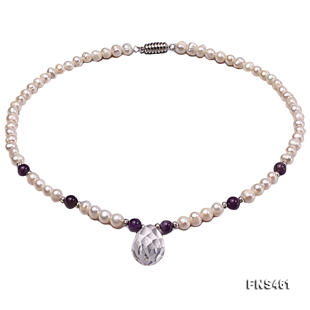 natural 6-7mm white round freshwater pearl necklace with natural amethyst and crystal big Image 1
