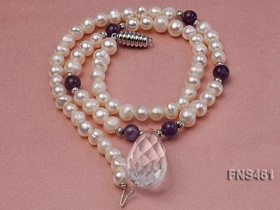 natural 6-7mm white round freshwater pearl necklace with natural amethyst and crystal FNS461 Image 5