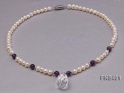 natural 6-7mm white round freshwater pearl necklace with natural amethyst and crystal FNS461 Image 7