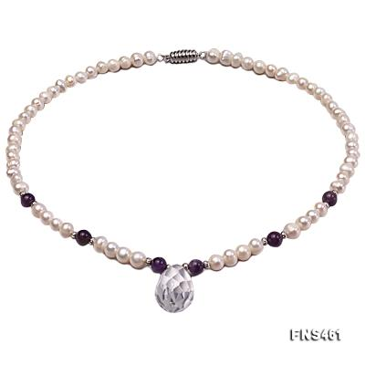 natural 6-7mm white round freshwater pearl necklace with natural amethyst and crystal FNS461 Image 1