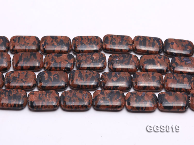 wholesale 18*25mm rectangular goldstone piece strings big Image 2
