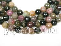 Wholesale 10mm Colorful Round Faceted Tourmaline String TOU001