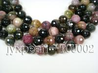 Wholesale 13mm Colorful Round Facetd Tourmaline String TOU002