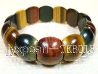 7.5x13.5x16.5mm flat round natural Tiger eye bracelet  TEB013
