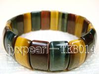 7x10x20mm flat oval natural Tiger eye bracelet  TEB014