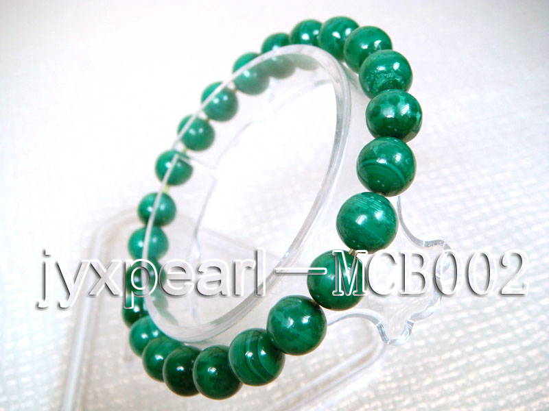8.5mm round green peacock malachite bracelet big Image 2
