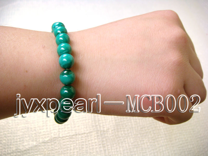 8.5mm round green peacock malachite bracelet big Image 3