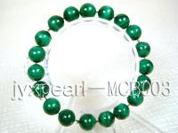 10mm Round Malachite Beads Elasticated Bracelet MCB003