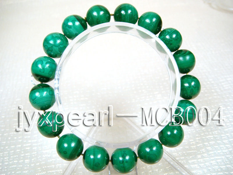 12mm Round Malachite Beads Elasticated Bracelet big Image 1