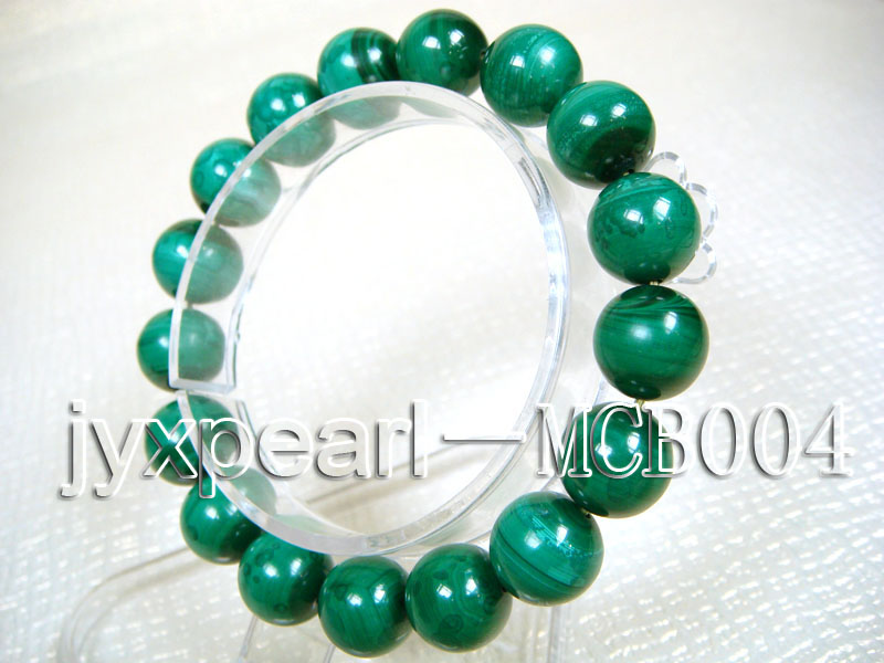 12mm Round Malachite Beads Elasticated Bracelet big Image 2