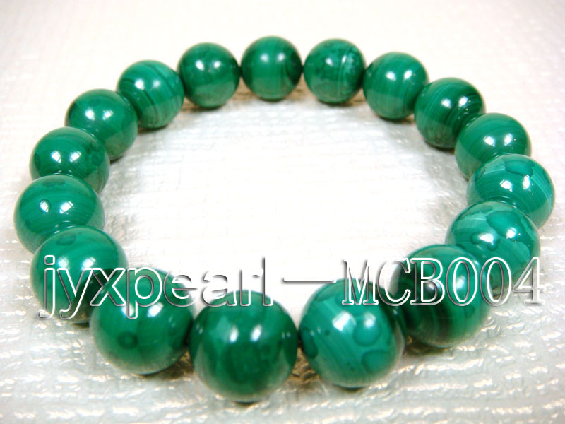 12mm Round Malachite Beads Elasticated Bracelet big Image 3