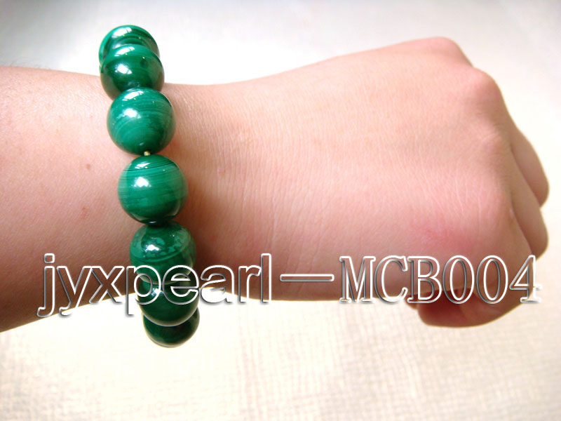 12mm Round Malachite Beads Elasticated Bracelet big Image 4