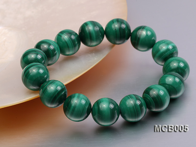 14mm green peacock round  malachite bracelet big Image 2