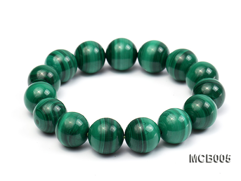 14mm green peacock round  malachite bracelet big Image 1