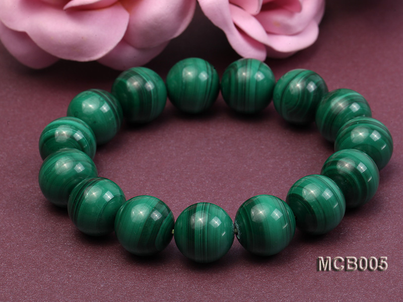 14mm green peacock round  malachite bracelet big Image 3