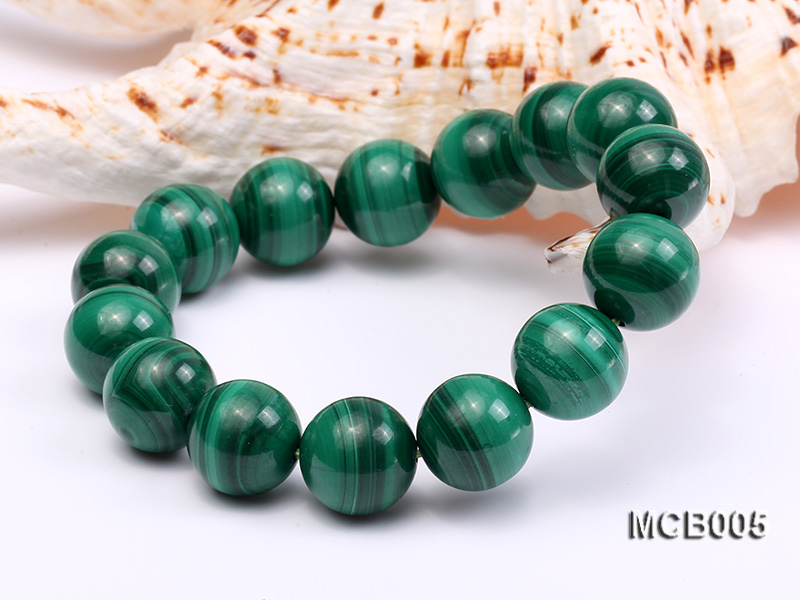 14mm green peacock round  malachite bracelet big Image 5
