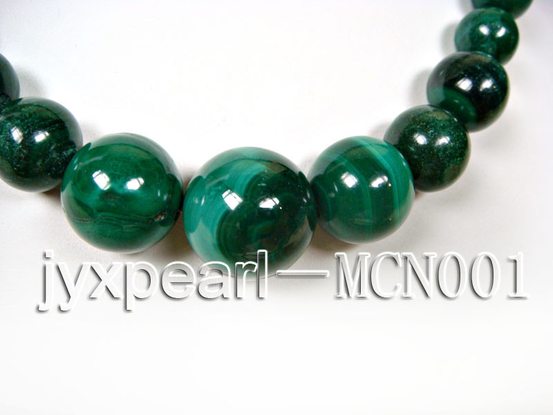 6-16mm green peacock round malachite necklace big Image 2