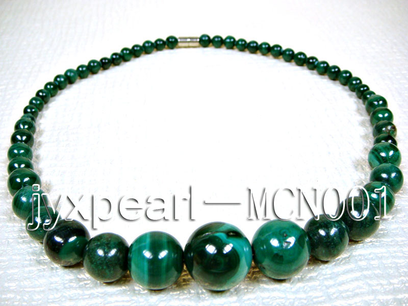 6-16mm green peacock round malachite necklace big Image 4